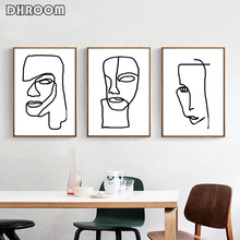 Abstract Modern Minimalist Line Wall Art Set of 3 Prints Face Canvas Painting Black White Matisse Inspired Poster Office Decor