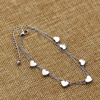 Super Lovely Seven Hearts Rose Gold Double Chain Anklet Titanium Steel Anti Allergic Anklet Jewelry Woman Kid Best Gift 4