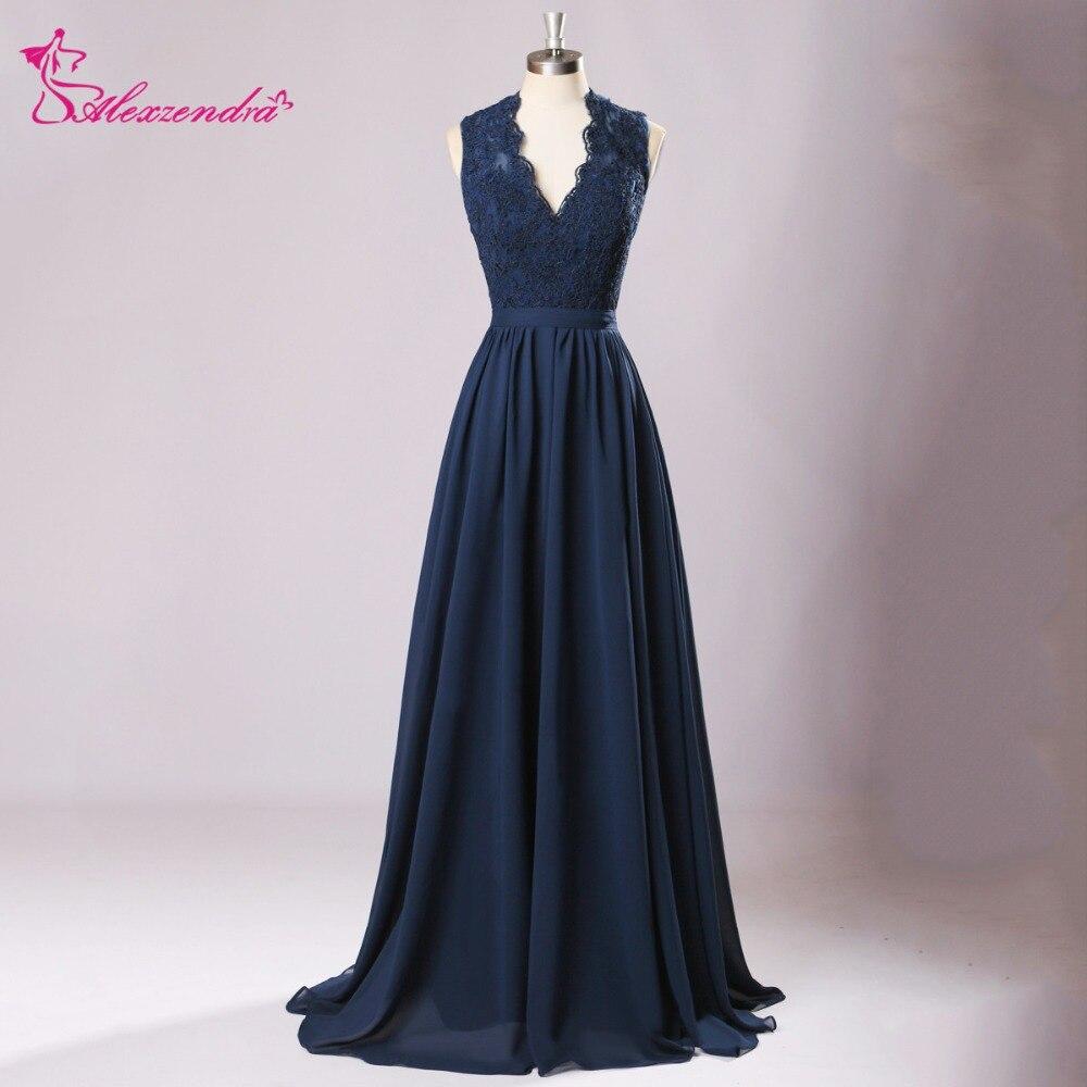 Alexzendra bleu marine en mousseline de soie longues robes de bal col en V dentelle dos nu robe de soirée robes de grande taille