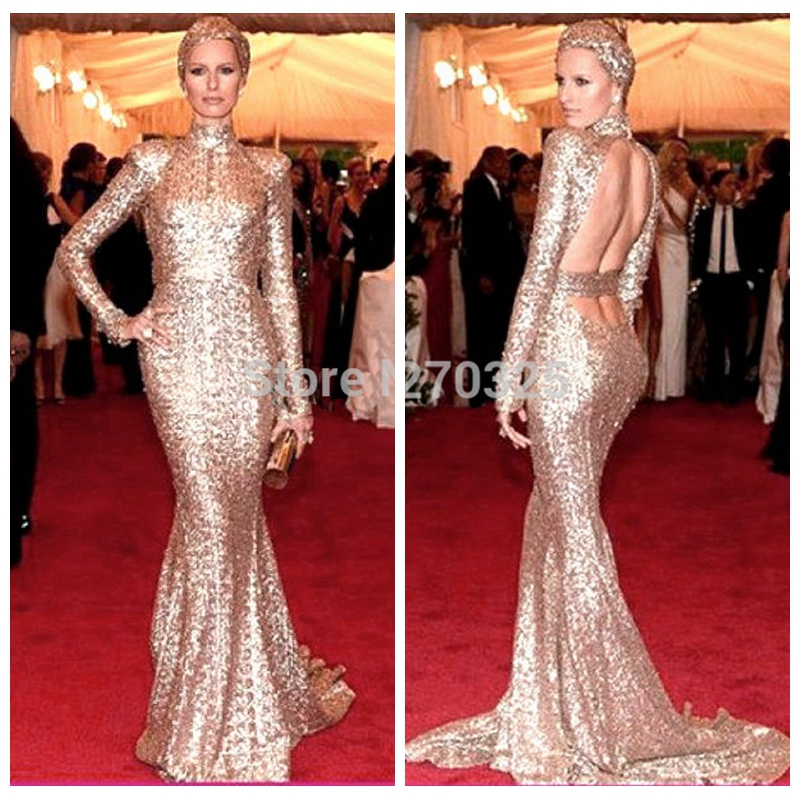 8f242b78ead20 Aliexpress.com : Buy 2017 new High neck long sleeved sexy back open  champagne mermaid celebrity red carpet evening dresses sparkling prom  dresses from ...
