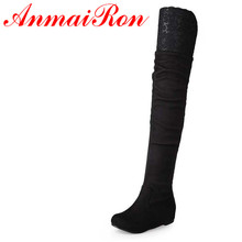 Sexy black Flat with Flock Over-the-Knee Boots Shoes Women Lace Big Size34-47 Platform Long For New