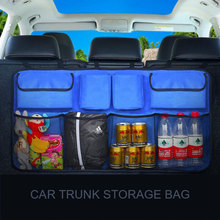 Trunk ארגונית רכב מושב אחורי אחסון ארגונית, קיבולת גדולה מתקפל מושב אחורי רשת אחסון תיק/SUV נטו רשת אחסון Stowing