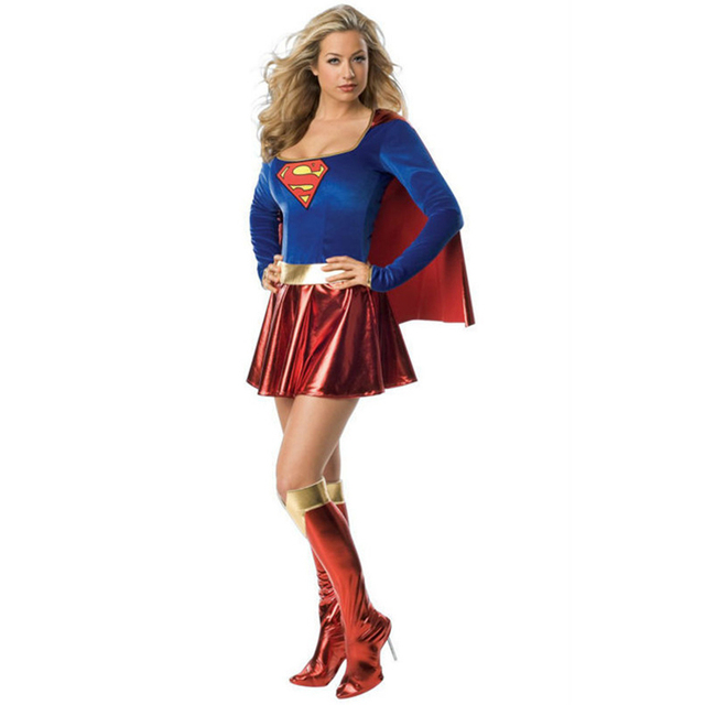 2016 Adult Supergirl Costume Woman Superhero Cosplay Sexy Fancy Dress Female Superman Costumes Girls Cosplay Party Gown Clothes