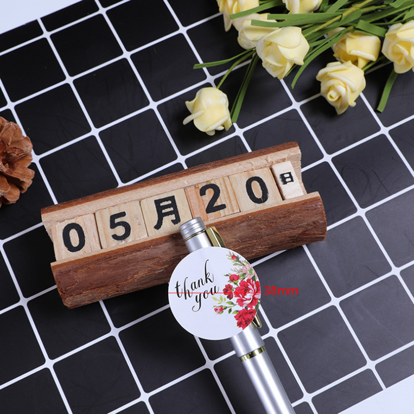Купить с кэшбэком 120pcs/lot Round Thank you Rose Flower Adhesive Baking Seal label Handmade Gift sticker