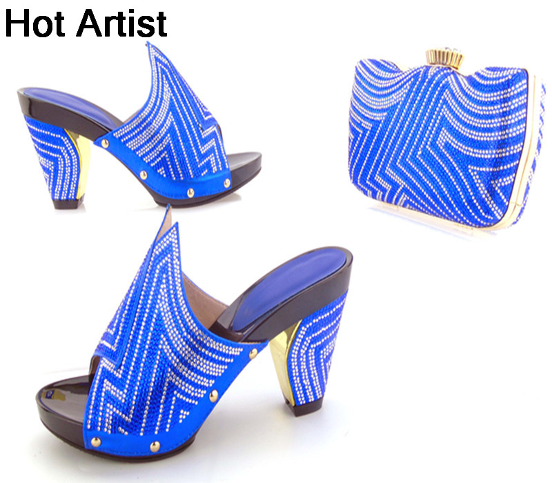 Hot Artist Italian Summer Pumps Shoes And Matching Bag Set Fashion High Heel Shoes And Evening