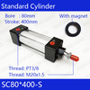 SC80 400 S Free Shipping Standard Air Cylinders Valve 80mm Bore 400mm Stroke Single Rod Double