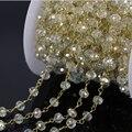 Diy 5 м четки стиль из бисера сеть, Тон провода завернутый желтые грановитая стеклянные бусины, Сеть из бисера ожерелье браслет ювелирных изделий
