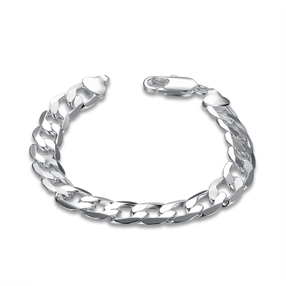 2017 new 925 sterling silver jewelry 10mm curb bracelet chain for women/men fine jewerly bracelets bangle pulseira masculinaH262