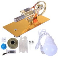 DIY Mini Stirling Engine Motor Micro Model With Bulb Model Building Kits Toys For Children Physic Class Demostration