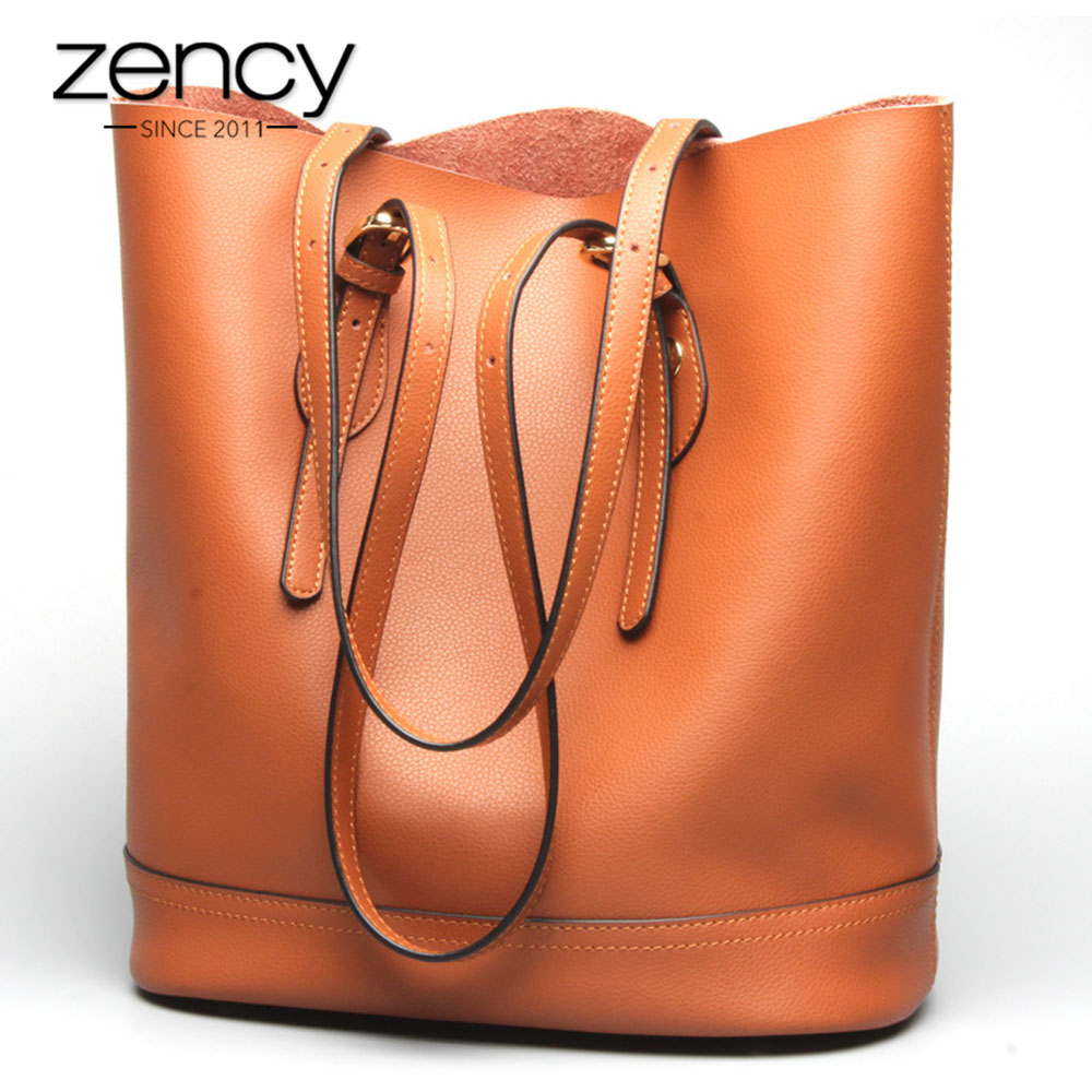 Zency Large Capacity Women Shoulder Bags 100% Genuine Leather Handbag Brown Vintage Shopping Bag Super Quality Casual Tote Purse-in Shoulder Bags from Luggage & Bags    1