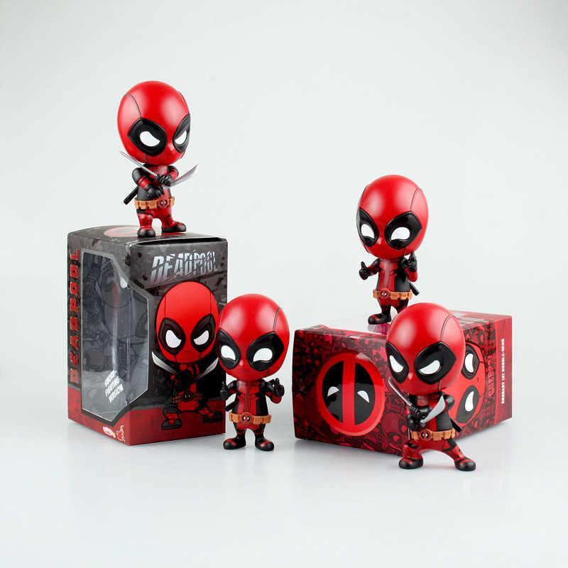 10 centímetros Q Versão Super Herói Deadpool Bobblehead Ornamento Com Arma coleção PVC Action Figure Modelo Toy Boneca Bonito Para crianças