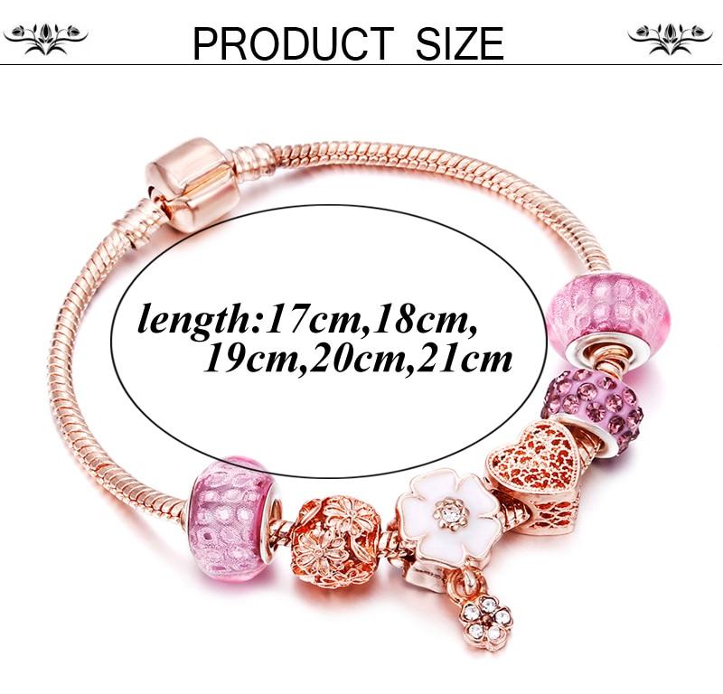 Rose Gold Bracelet Cherry Blossom Tassel Ball Crystal Bead Pendant Charm Trend Bracelets & Bangles For Women Jewelry Girl Gifts 2