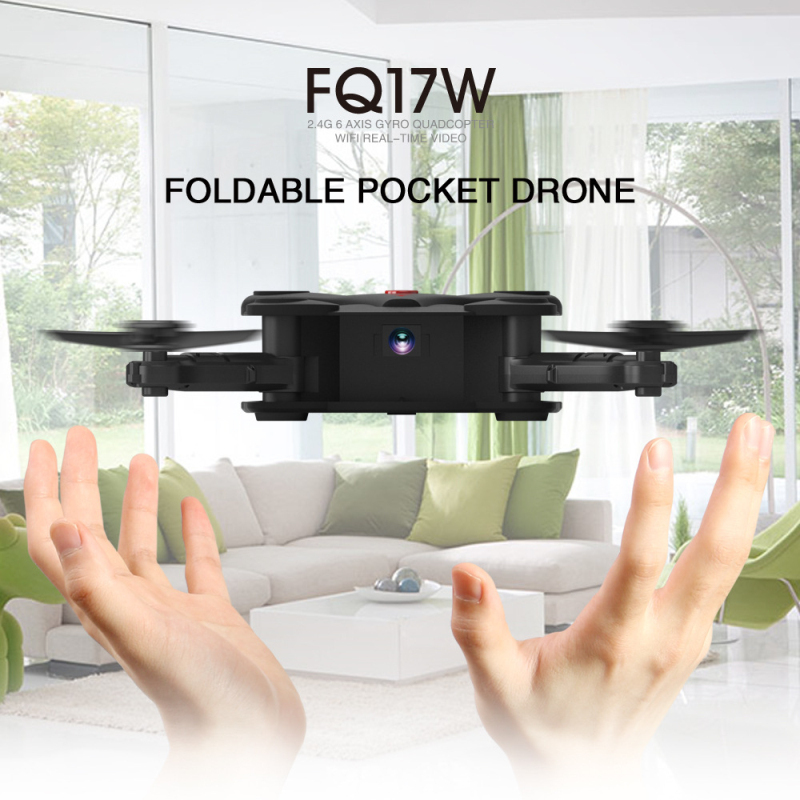 Mini WiFi FPV Foldable Pocketable Drone FQ-17W With High Hold Mode RC Quadcopter WIFI FPV camera altitude holding mode RC drone jjrc h49 sol ultrathin wifi fpv drone beauty mode 2mp camera auto foldable arm altitude hold rc quadcopter vs e50 e56 e57