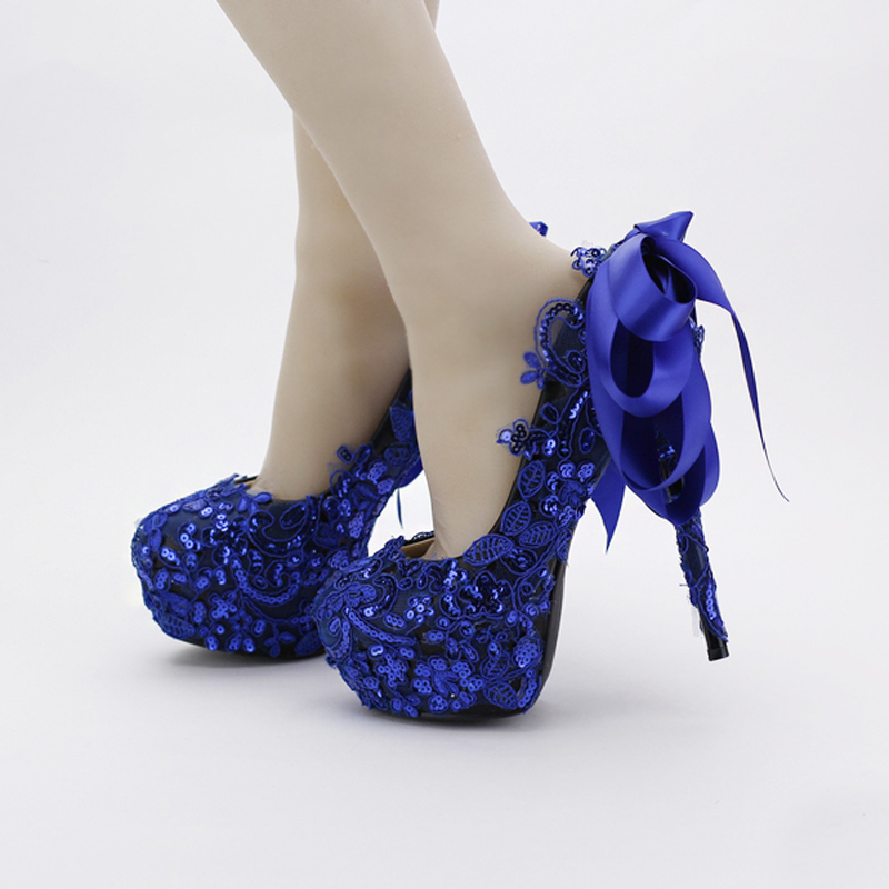 Blue Color Lace Wedding Shoes Sequined Glitter Nightclub Pumps Beautiful  Satin Bow Women Prom Shoes Party Blue Dress Shoes In Womenu0027s Pumps From  Shoes On ...