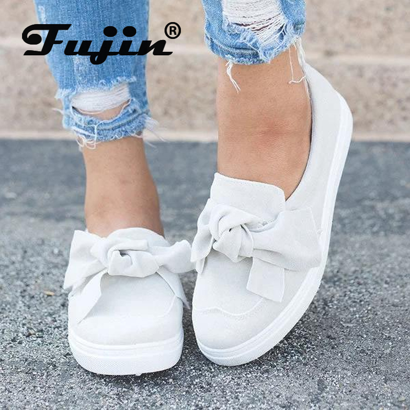 Fujin Shoes Fashion Flats Loafers Women Autumn Bows Spring Female Large-Size Casual Feet