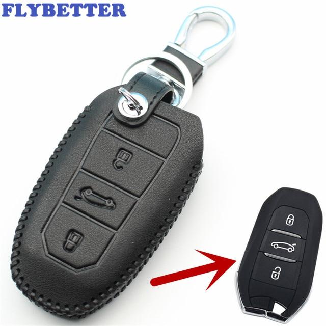 Flybetter из натуральной кожи 3B Smart Remote Key чехол для peugeot 3008/508/2008 для Citroen C4L/DS6/C6/DS5 стайлинга автомобилей L1360