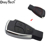 OkeyTech New Style Modified 3 Button Remote Key Shell Case With Battery Holder Silver Side Replace