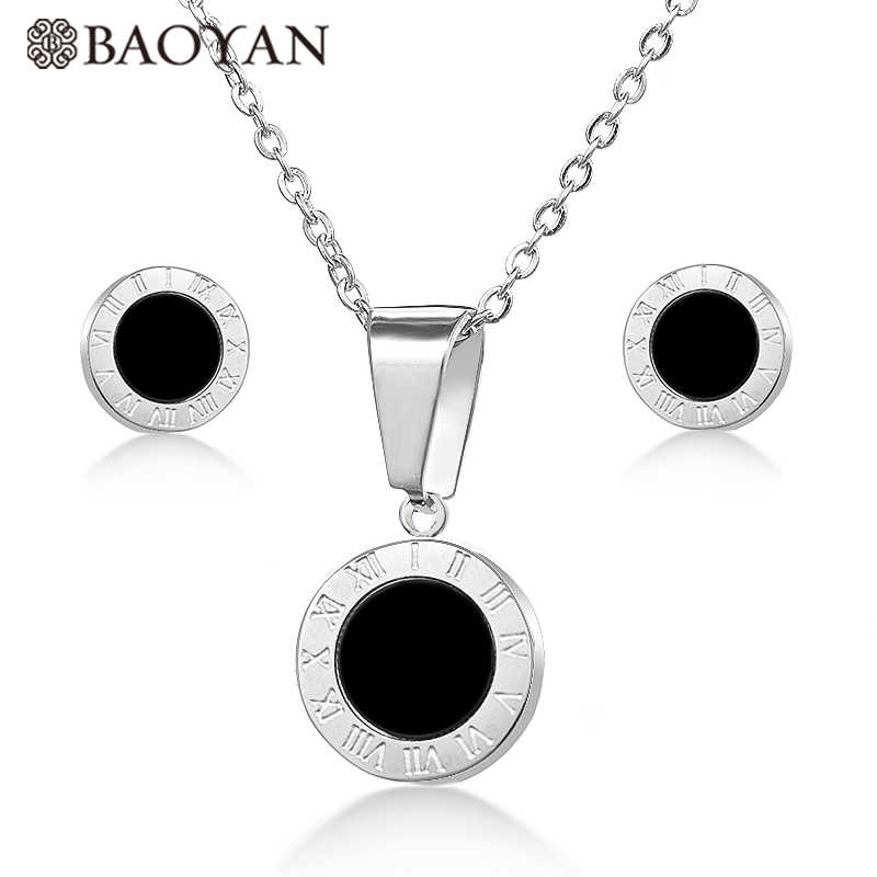 BAOYAN Stainless Steel Roman Numerals Jewelry Sets Gold/Silver/Rose Gold Plating Round Black Shell Necklace Earrings Sets Women
