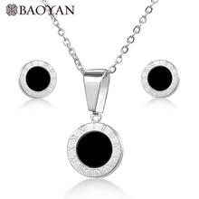 d476b3872f90 BAOYAN316L Acero inoxidable números romanos oro plata Rosa oro simple  colgante redondo joyería conjunto de regalos de moda para .