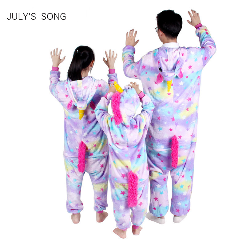 Rosa Einhorn Flanell Pyjamas Sets Cartoon Tier Eltern-kind Winter Pyjamas Cosplay Kigurumi Frauen Männer Winter Nachtwäsche Unisex