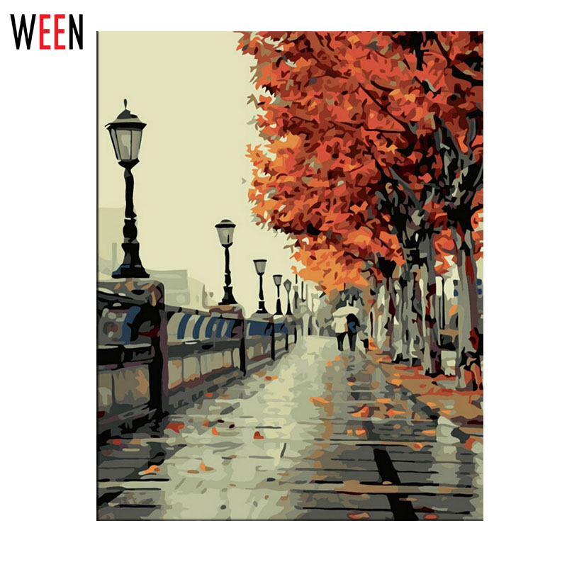 WEEN Wall Pictures Paint by Numbers DIY Landschap Decoracion Hogar Art Olieverfschilderij Coloring by Numbers on Canvas 2017 New Gift