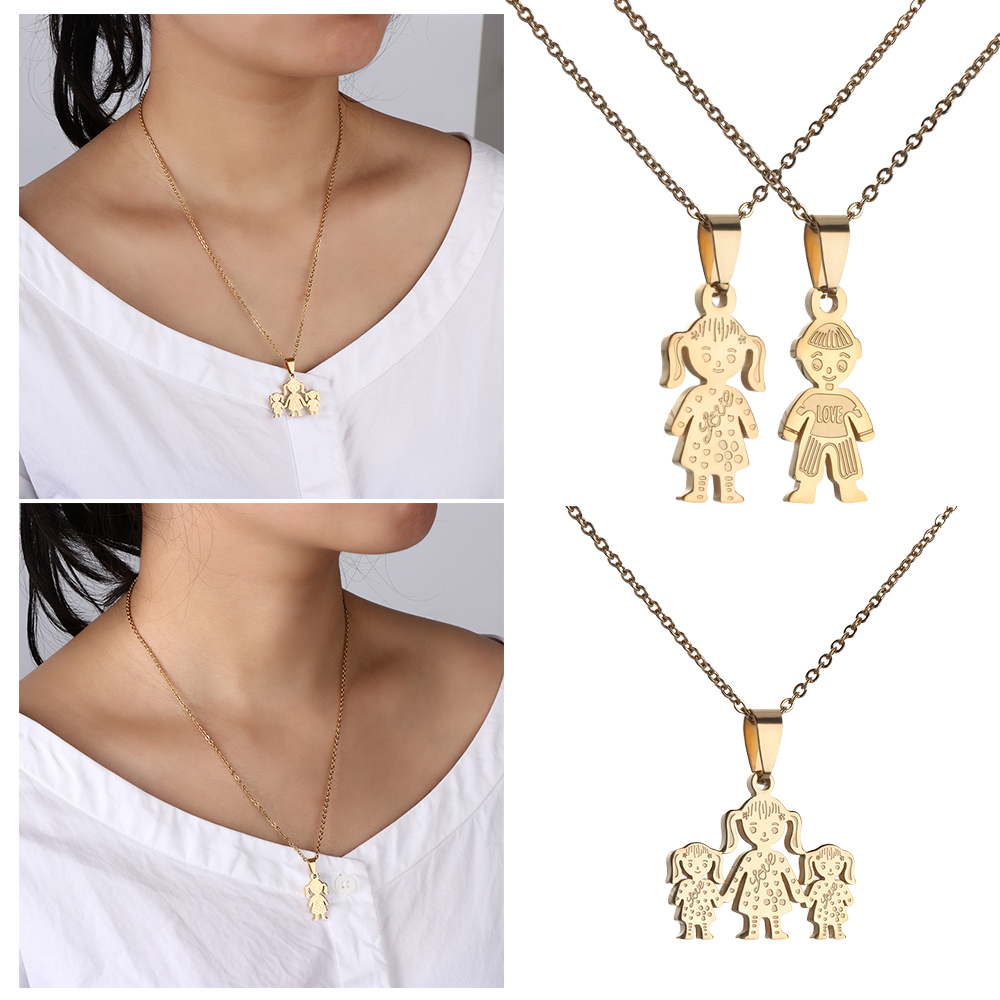 NEWME Skull Charms Pendant Metal Chain Necklace For Dad Handmade Jewelry Kraftpaper Box Gifts