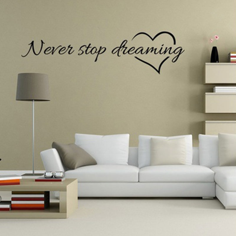 1pc Letter Wall Sticker Home Decor Never Stop Dreaming Wall Quote Decal Vinyl Words Sticker 60x20cm Wall Papers Home Decor