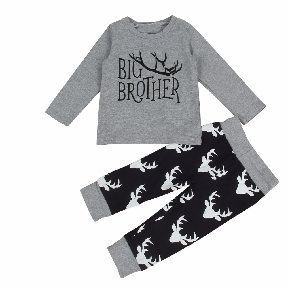 Nordic Style Big Brother Printed Siblings Matching Boy's Clothes Set