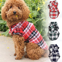 2016 New Vogue Pet Canine Shirt Material Leisure Pet Canine Spring And Summer season Garments Little Mini VIP Plaid Shirt W5