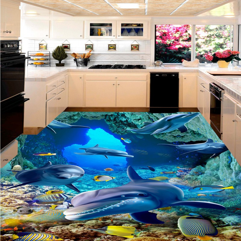 Free shipping Sea World Dolphin Coral flooring painting wallpaper bedroom aquarium self-adhesive floor wallpaper mural free ship high quality ztw al80a 2 6s brushless esc for rc airplane model hobby plane spare part