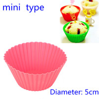 12pcs/lot New 5CM Round Shape Silicone Muffin Cupcake Mould Case Bakeware Maker Mold Tray Baking Cup Liner Baking Molds