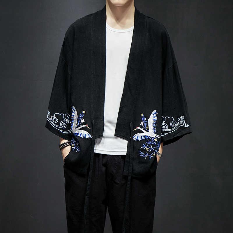 男性夏コットンリネン刺繍ジャケットカーディガン男性ファッションカジュアル緩い着物シャツコート