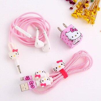 Conjunto Protector de auriculares con Cable USB de dibujos animados a la moda con Cable enrollador con pegatinas Protector de Cable espiral para iphone 5 6 6s 7plus