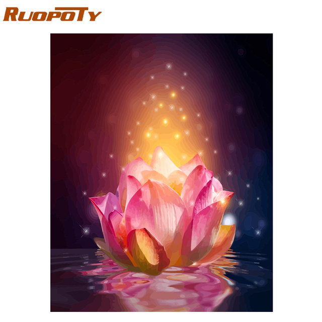 RUOPOTY Frame Flowers DIY Painting By Numbers Kit Modern Home Wall Art Picture By Numbers For Home Decors Living Room Artworks 1