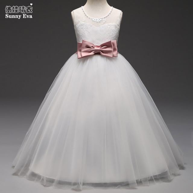 sunny eva white children wedding dress for girls princess prom ...