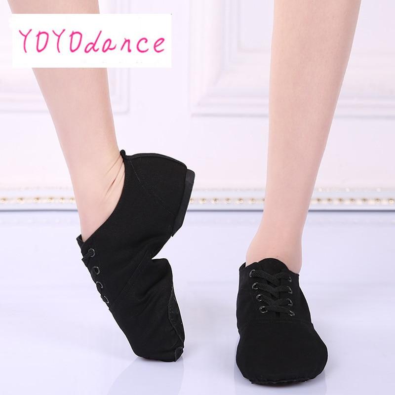 Show details for China Famour Brand Design ShanSha Canvas  Leather Jazz Shoes Ballet Dance Split Heels Sole Shoe for Girls
