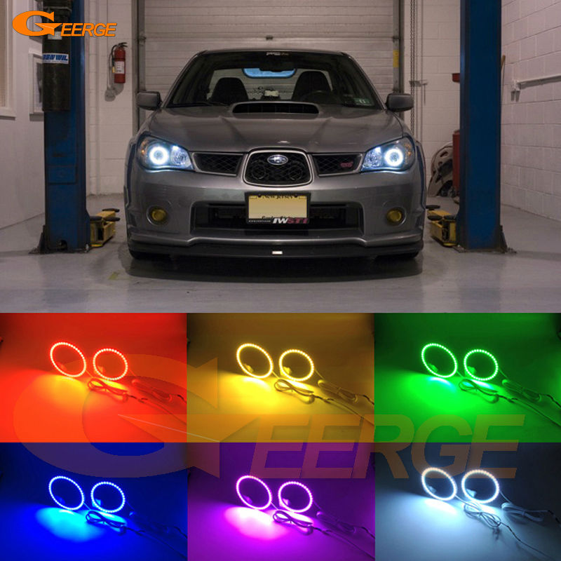 For Subaru Impreza 2006 2007 Excellent Angel Eyes Multi-Color Ultra bright RGB LED Angel Eyes kit Halo Rings super bright led angel eyes for bmw x5 2000 to 2006 color shift headlight halo angel demon eyes rings kit