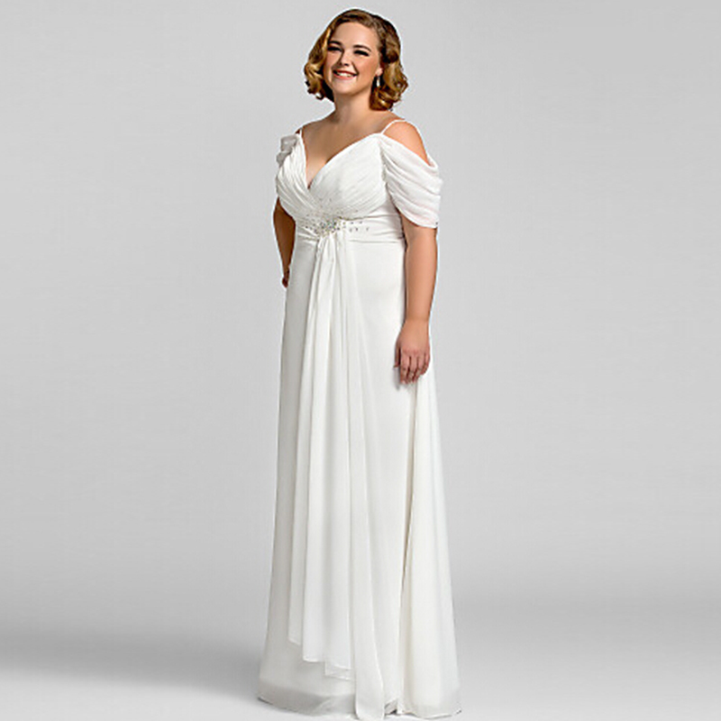New Plus Size White Chiffon V Neck Evening Dress 2016 Vestidos De