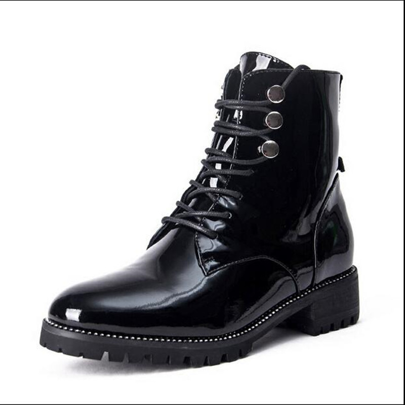 Zobairou Western Chic Bella Hadid Outfit Combat Boots Fashion Women Shoes  Patent Leather Lace Up Studded Motorcycle Booties-in Ankle Boots from Shoes  on ... 6d1165f1414f