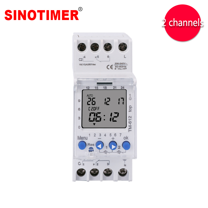 Two Channels Big LCD Display Programmable 24hrs Time Clock with Two Relay Outputs