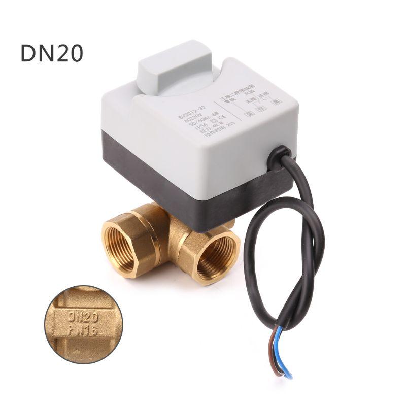 Image 5 - AC220V 3 way elektryczny napędzany zawór kulowy trzy drutu dwa sterowania do klimatyzacjiZawory   -