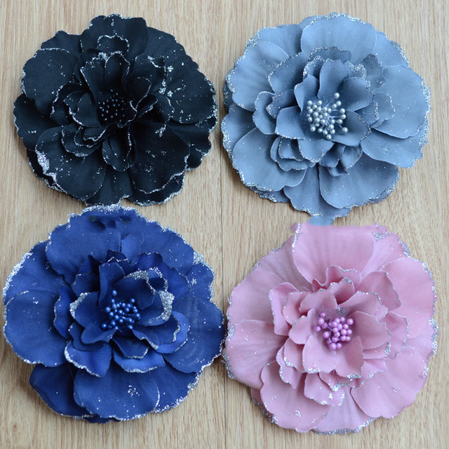 Artificial Flowers Fake Simulation Tea Camellia Flower Head With A Silver Silk Dress Hairpin DIY