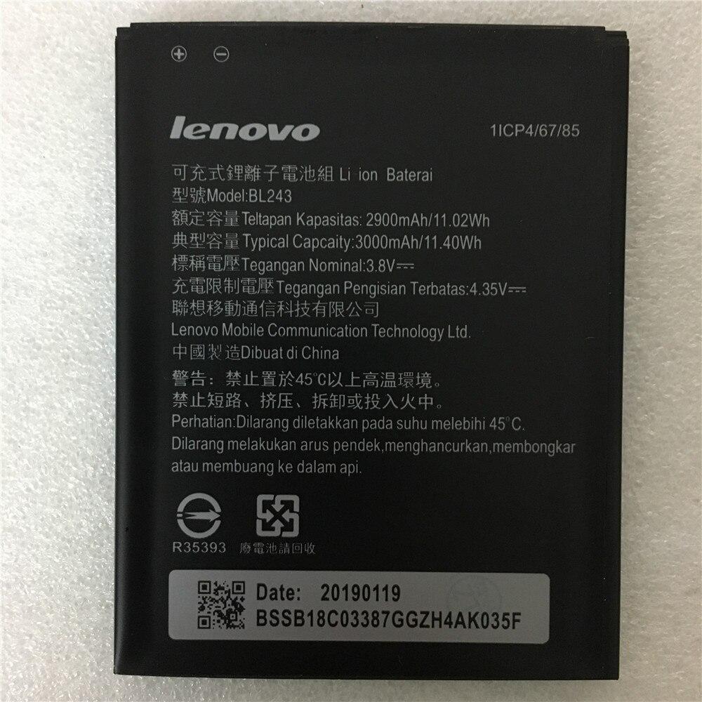 2019 Nova Bateria Para lenovo BL 243 BL243 Limão K3 Nota K50-T5 A7000 A5500 A5600 A7600 2900mAh taxa de Telefone Móvel bateria de backup