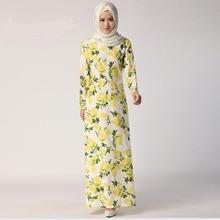 2018 Limited-Promotion Adult Fashion printed flower Abaya Jilbabs And Abayas Muslim Female Long-sleeved Arab Dress W605