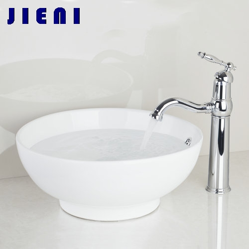 Best Bathroom <font><b>Sink</b></font> Washbasin Ceramic +Deck Mount Single Handle Tap TD300697051 Lavatory Bath Combine Brass Set Tap Mixer Faucet