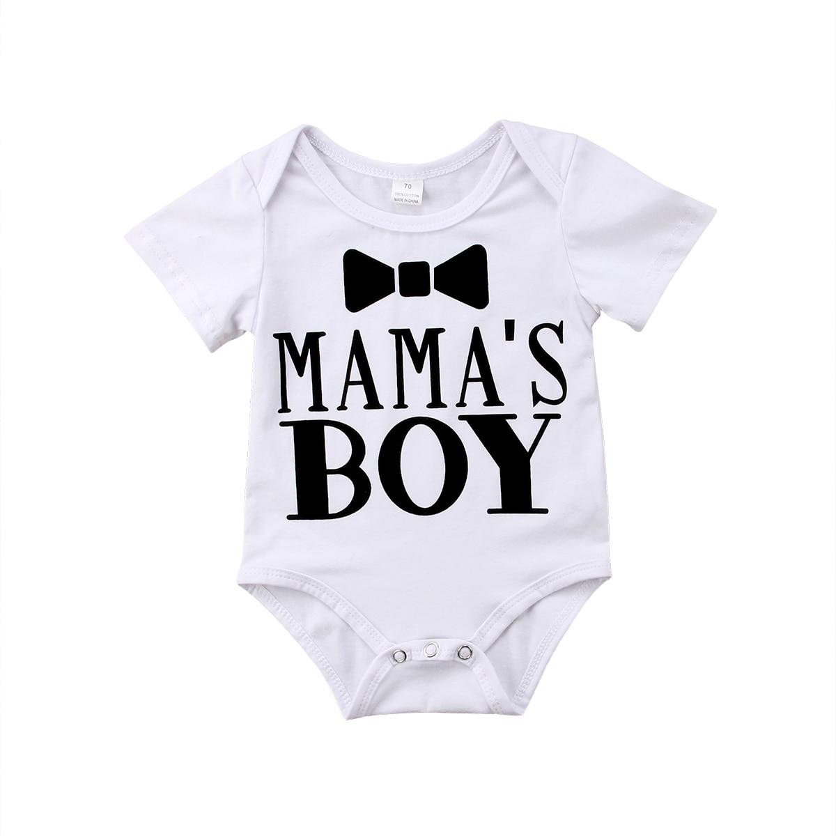 Kids Mama's Boy Newborn Infant Baby Boy Cotton Letter Bodysuits Sunsuit Jumpsuit Babygrow