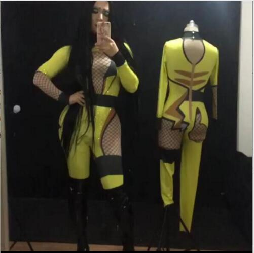 Fashion Sparkly Bikachu Jumpsuit Bling Rhinestones Costume Celebrate Rompers Outfit Singer Performance Show Bodysuit Wear
