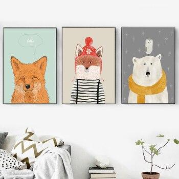 Cartoon Fuchs Bär Eule Wand Kunst Leinwand Malerei Nordic Poster Und Drucke Wand Bilder Für Kinder Zimmer Baby Mädchen Zimmer decor