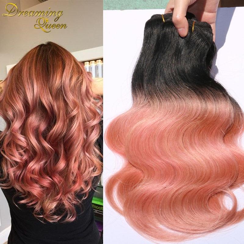 1b Rose Gold Hair 7a Ombre Peruvian Virgin Hair Body Wave Ombre Hair
