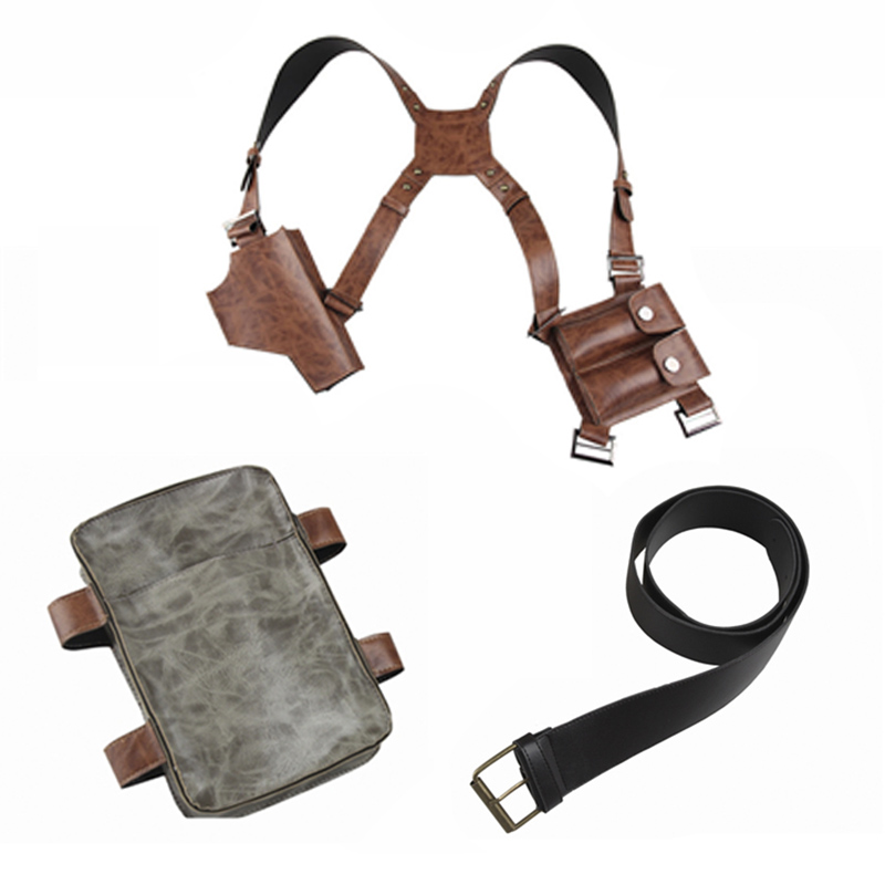Uncharted 4 A Thief's End Costume Nathan Drake Cosplay Leather Holster Belt Shoulder Straps Revolver Gun Bag Halloween Props